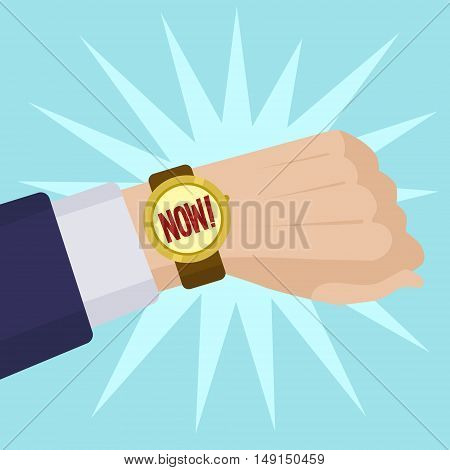 Wrist watch show now. Cartoon colorful vector illustration