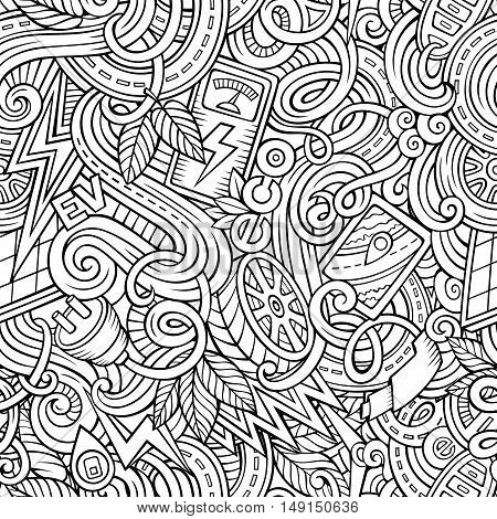 Cartoon cute doodles hand drawn Electric vehicle seamless pattern. Line art detailed, with lots of objects background. Endless funny vector illustration. Contour backdrop with eco cars symbols and items
