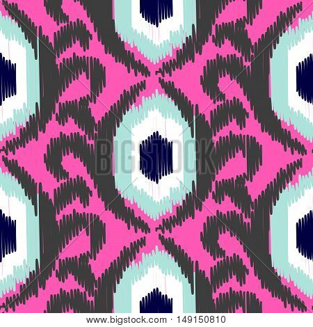 Ikat ogee vector seamless pattern. Abstract floral background for fabric, print or wrapping paper. Gray on hot pink design.