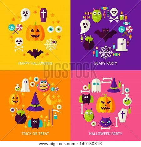 Halloween Holiday Concepts Set. Flat Design Vector Illustration. Collection of Trick or Treat Posters.