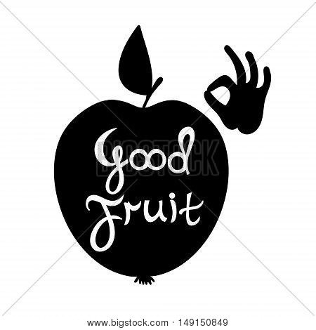 Vector motivation card with hand silhouette. Local market poster. Perfect illustration for food shop grocery or organic product label.