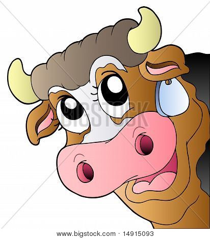 Cartoon Lurking Cow