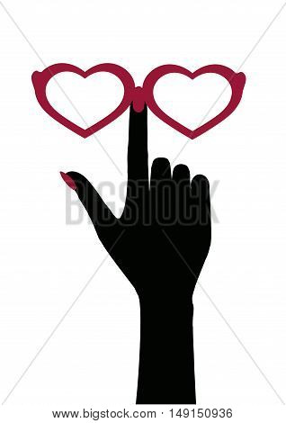 hand and glasses in the shape of a heart. vector silhouette