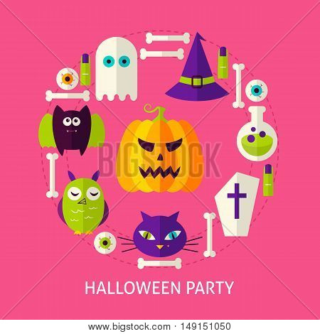 Halloween Party Flat Concept. Poster Design Vector Illustration. Set of Trick or Treat Objects.