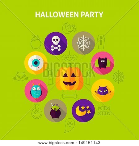 Halloween Party Infographics Concept. Vector Illustration of Trick or Treat Circle with Flat Design Icons.