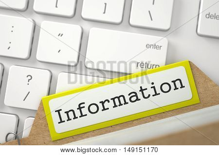 Information written on Yellow File Card Lays on Computer Keyboard. Closeup View. Blurred Illustration. 3D Rendering.