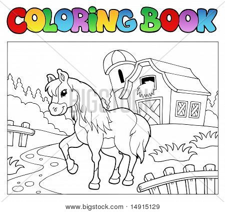 Libro de colorear con granja y caballo