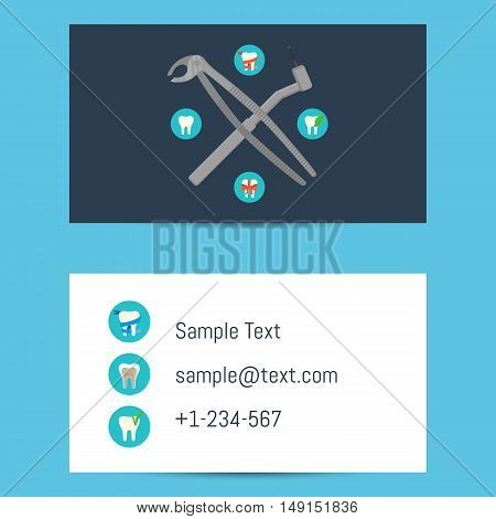 Professional blue and white business card template for dentists with round teeth icons and dentist equipment, vector illustration. Dental office visiting card. Design for dental clinic.