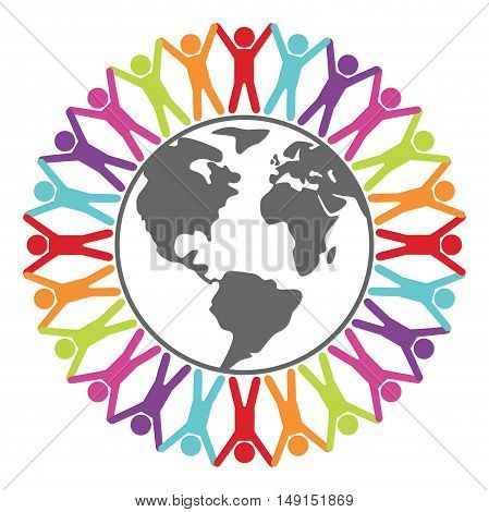 vector colorful illustration of people around the world peace or travel concept