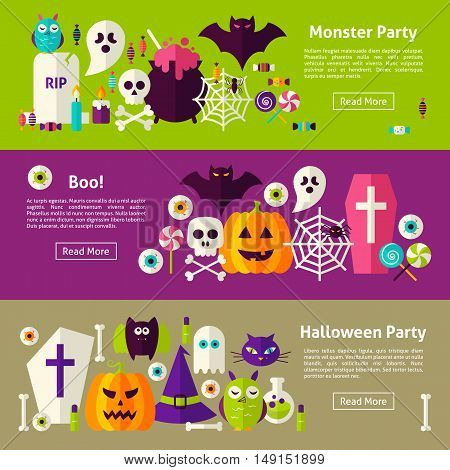 Halloween Party Web Horizontal Banners. Flat Style Vector Illustration for Website Header. Trick or Treat Objects.