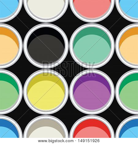 vector seamless background pattern of colorful paint cans