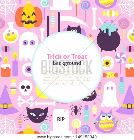 Halloween Trick or Treat Trendy Background. Flat Style Vector Illustration Scary Party Modern Template.