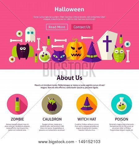 Halloween Web Design Template. Flat Style Vector Illustration for Website Banner and Landing Page. Trick or Treat.