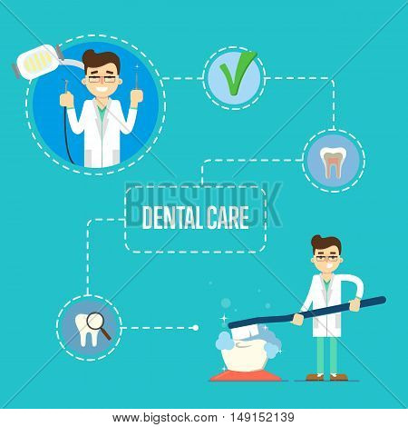 Male dentist holding big toothbrush and brushing big teeth on blue background with tooth round icons. Dentistry vector illustration. Oral dental hygiene, tooth health concept. Dental care banner