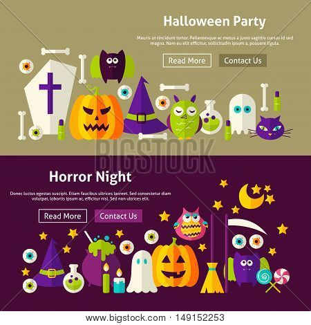 Halloween Party Website Banners. Vector Illustration for Web Header. Horror Night Modern Flat Design.