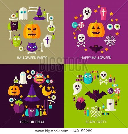 Happy Halloween Concepts Set. Flat Design Vector Illustration. Collection of Trick or Treat Posters.