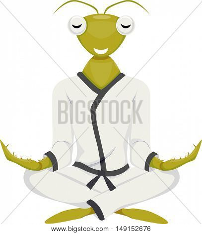 Mascot Illustration of a Praying Mantis in a Karate Costume Sitting Cross Legged While Meditating