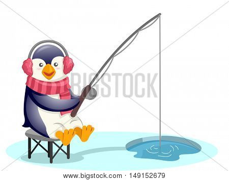 Mascot Illustration of a Cute Penguin Wearing Earmuffs and a Scarf Pole Fishing Through a Hole in the Ice