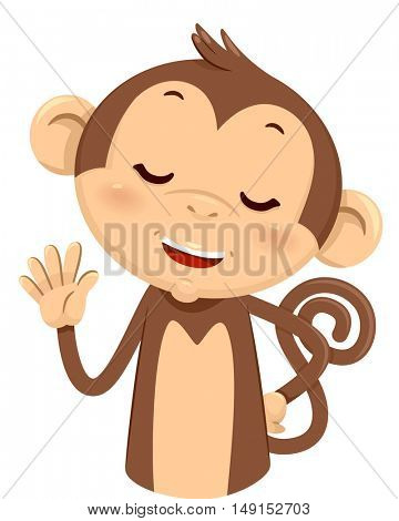 Mascot Illustration of a Cute Monkey Using His Fingers to Gesture the Number Five