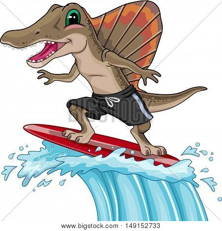 Mascot Illustration of a Spinosaurus in Board Shorts Surfing Giant Waves
