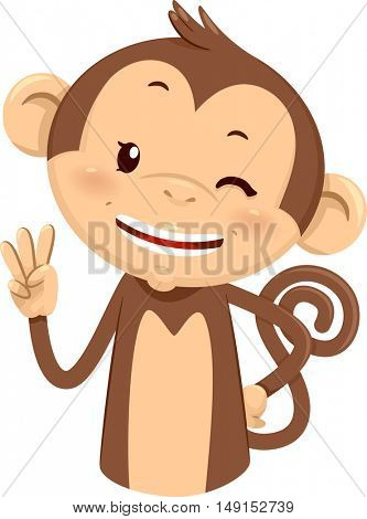 Mascot Illustration of a Cute Monkey Using His Fingers to Gesture the Number Three