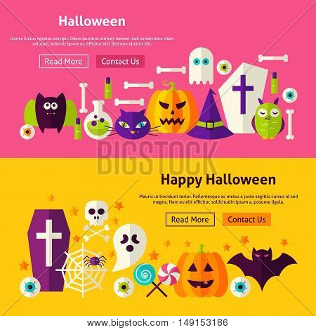 Happy Halloween Website Banners. Vector Illustration for Web Header. Trick or Treat Modern Flat Design.