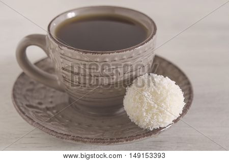 White Coconut Candy With Cup Of Coffee