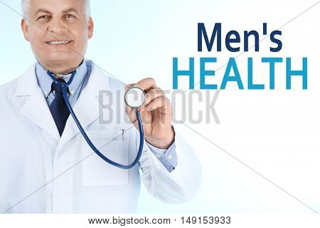 Professional doctor with stethoscope, isolated on white. Urology concept
