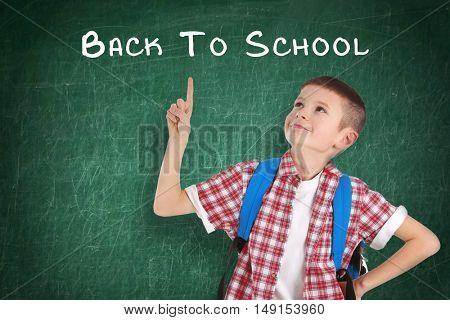 School concept. Cute boy standing on blackboard background. Text back to school.