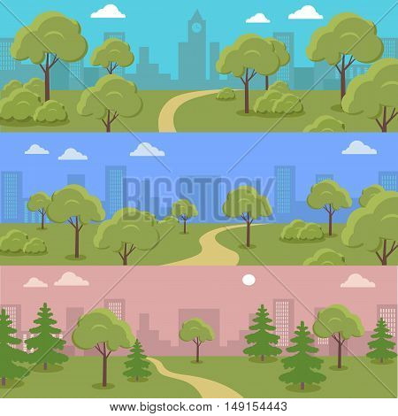 Set of city park vector horizontal concepts. Flat design. Trees, bushes and track on lawn with cityscape on background. Gardening art, green recreational areas for sports and leisure illustrating.