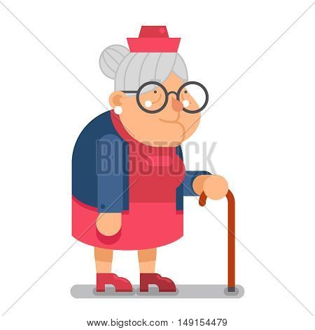 Granny Old Lady Character Cartoon Design Vector illustration