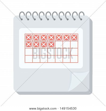 Calendar icon in cartoon style isolated on white background. Pregnancy symbol vector illustration.