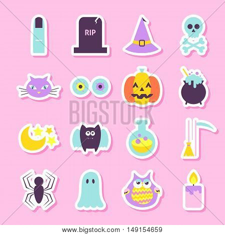 Trick or Treat Halloween Stickers. Flat Style Vector Illustration. Halloween Party Objects in Trendy Colors.