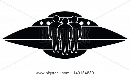 vector ufo spaceship and aliens isolated on white