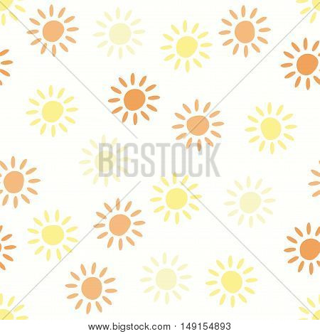 vector seamless background pattern with sun symbols
