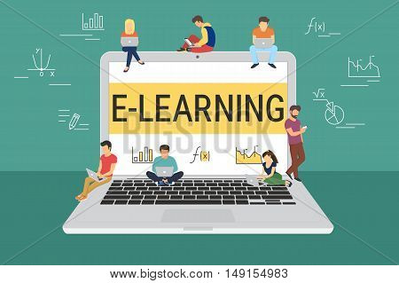E-learning concept illustration of young people using laptop and smartphone for distance learning and education. Flat design of guys and young women standing on the big open laptop