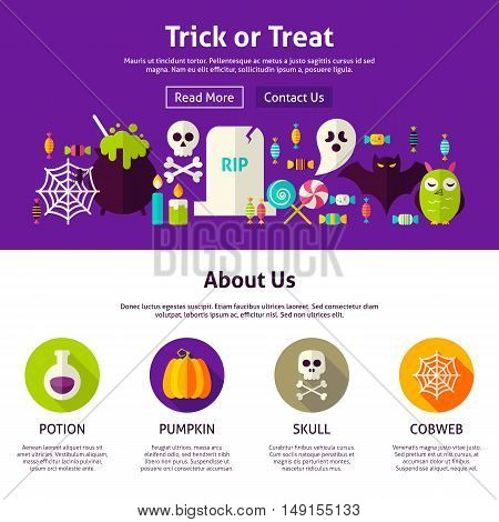 Trick or Treat Web Design Template. Flat Style Vector Illustration for Website Banner and Landing Page. Happy Halloween.