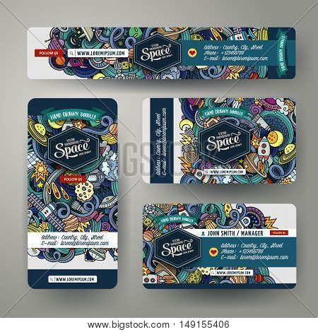 Cartoon cute vector hand drawn doodles space corporate identity set. Templates design of banners, id cards, flyer