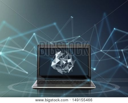 technology and cyberspace concept - laptop computer with low poly shape on screen over dark gray background