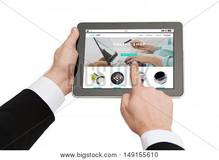 business, people, internet shopping and technology concept - close up of man hands holding tablet pc computer with online shop web page on screen