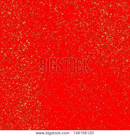Gold Glitter Texture Isolated On Red Background.