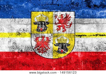 Flag Of Mecklenburg-western Pomerania With Coat Of Arms, Germany, Painted On Dirty Wall