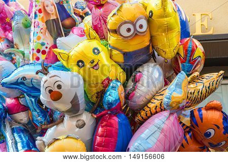 Colorful cartoon foil balloons at the fall folk festival - September 24 2016, Heidelberg, Germany