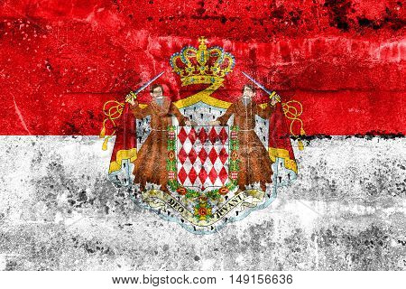 Flag Of Monaco With Coat Of Arms, Painted On Dirty Wall