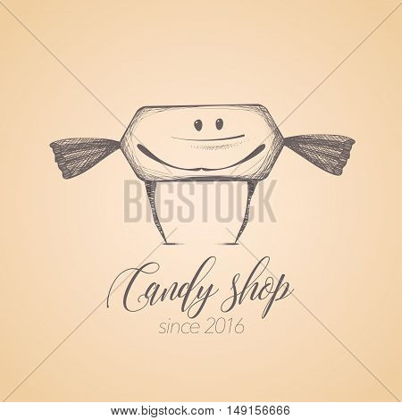 Sweet shop candy store confectionery vector logo icon symbol emblem. Cute graphic design element illustration with candy lollipop bonbon caramel character for sweet shop menu tshirt