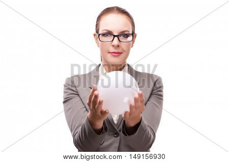 Woman holding crystall ball isolated on white