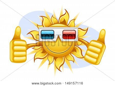 Happy yellow sun with 3d movie glass
