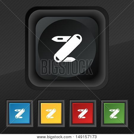 Pocket Knife Icon Symbol. Set Of Five Colorful, Stylish Buttons On Black Texture For Your Design. Ve