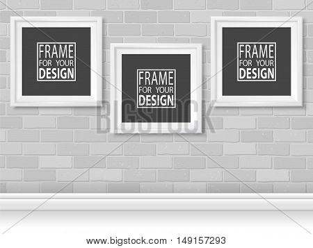 Frames on grey bricks wall. White photoframes mockup set. Modern empty framing for your design. Vector template for picture painting drawing poster or photo.
