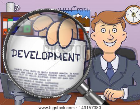 Business Man in Suit Showing Text on Paper Development Concept through Magnifying Glass. Closeup View. Multicolor Doodle Style Illustration.